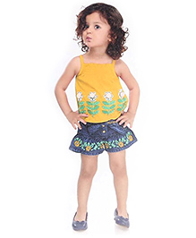 N - XT Embroidered Singlet Top And Denim Shorts With Sash Tie Belt - Yellow And Blue