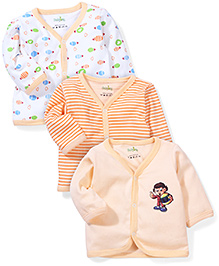 Babyhug Printed Full Sleeves Vest Pack Of 3 - White & Peach