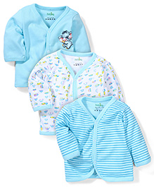 Babyhug Printed Full Sleeves Vest Pack Of 3 - White & Blue