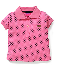 Button Noses Polo T-Shirt Dot Print - Pink