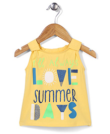 Button Noses Sleeveless Top Caption Print - Yellow