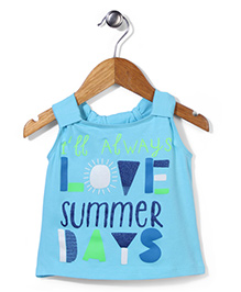 Button Noses Sleeveless Top Caption Print - Blue