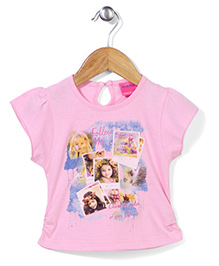 Button Noses Short Sleeves Printed Top - Pink