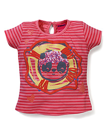Button Noses Half Sleeves Top Stripes Pattern - Red