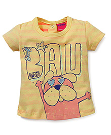 Button Noses Half Sleeves Top Puppy Print - Yellow