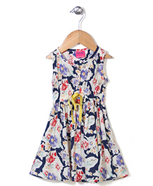 Button Noses Sleeveless Frock Floral Print - Navy Cream