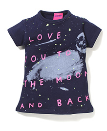 Button Noses Half Sleeves Top Moon Print - Navy
