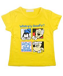 Kiwi Half Sleeves T-Shirt Where's Goofy Print - Yellow