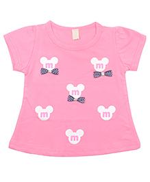 Kiwi Short Sleeves Cotton Top Bow Applique - Pink