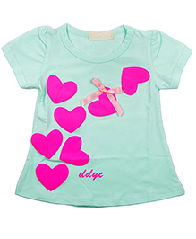 Kiwi Hearts Print Short Sleeves Tops - Green