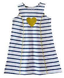 ATUN Classy Striped Dress - Navy Blue