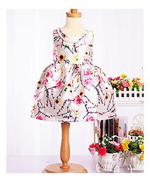 Cherubbaby Satin Flower Print Dress - Cream
