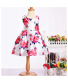 Cherubbaby Satin Flower Print Dress - White
