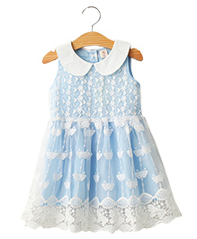Cherubbaby Light Butterfly Lace Frock - Aqua Blue
