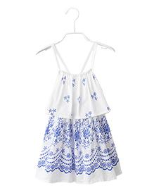 Cherubbaby Floral Print Dress - White & Blue