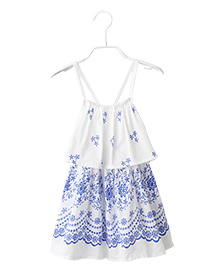 Cherubbaby Floral Print Dress - White & Blue