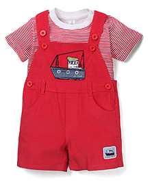 ToffyHouse Boat Print Dungaree & T-Shirt Set - Red