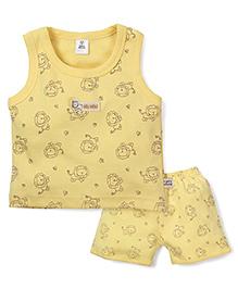 ToffyHouse Lion Print Vest & Shorts Set - Yellow