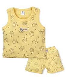 ToffyHouse Lion Print Vest & Shorts Set - Yellow
