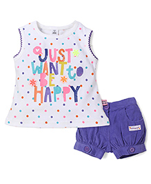ToffyHouse Just Want To Be Happy Print Top & Shorts - White & Purple