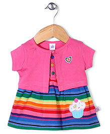 ToffyHouse Striped Dress With Jacket - Pink
