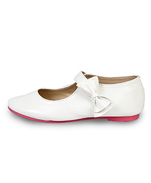 Beanz Belly Shoes Bow Applique - White