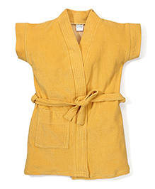 Babyhug Short Sleeves Bathrobe - Dark Yellow