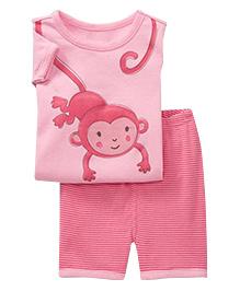 Adores Summer Monkey Print Night Suit Set - Pink