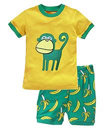Adores Summer Monkey Print Night Suit Set - Yellow & Green
