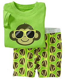 Adores Summer Monkey With Shades Print Night Suit Set - Green & Yellow