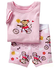 Adores Summer Monkey On The Bicycle Print Night Suit Set - Pink