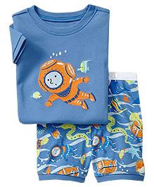 Adores Summer Deep Sea Print Night Suit Set - Blue