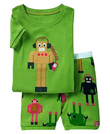 Adores Summer Robot Print Night Suit Set - Green