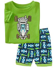 Adores Summer Race Car Print Night Suit Set - Green