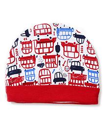 Ben Benny Bonnet Cap Car Print - Red
