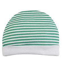 Ben Benny Stripes Bonnet Cap - Green And White
