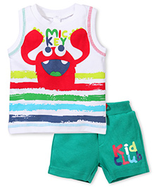 Mickey Sleeveless T-Shirt And Shorts Printed - White And Green