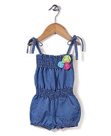 Mickey Singlet Denim Jumpsuit Floral Appliques - Light Blue