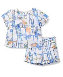 Kiddy Mall Printed Shorts &Top Set  - White & Blue