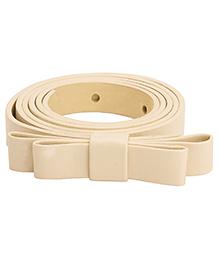 NeedyBee Girls Designer Buckle Bow Belt - Cream