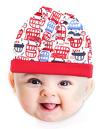 Ben Benny Car Print Knotted Cap - Red And White