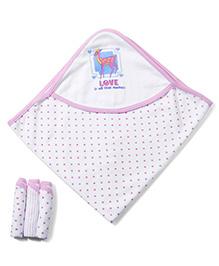 Babyhug Polka Dots Print Hooded Towel With 3 Hand Towels - Pink
