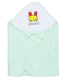 Babyhug Double Sided Hooded Towel Kid Cutie Print - Green