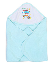 Babyhug Double Sided Hooded Towel Be Nice Lia Print - Aqua
