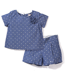 Kiddy Mall Dot Print Top & Shorts Set - Blue