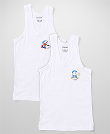 Doraemon Sleeveless Printed Vests Pack of 2 - White