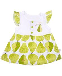 Kiwi Pear Print Casual Cap Sleeves Frock - Green