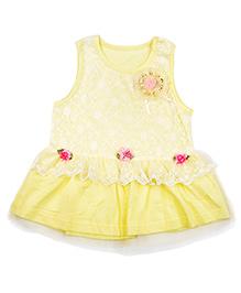 Kiwi Cotton Frock Net & Rose Applique - Yellow