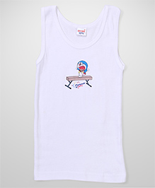 Doraemon Printed Sleeveless Vest - White
