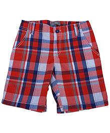 Kuddle Kids Checks Boys Shorts - Red